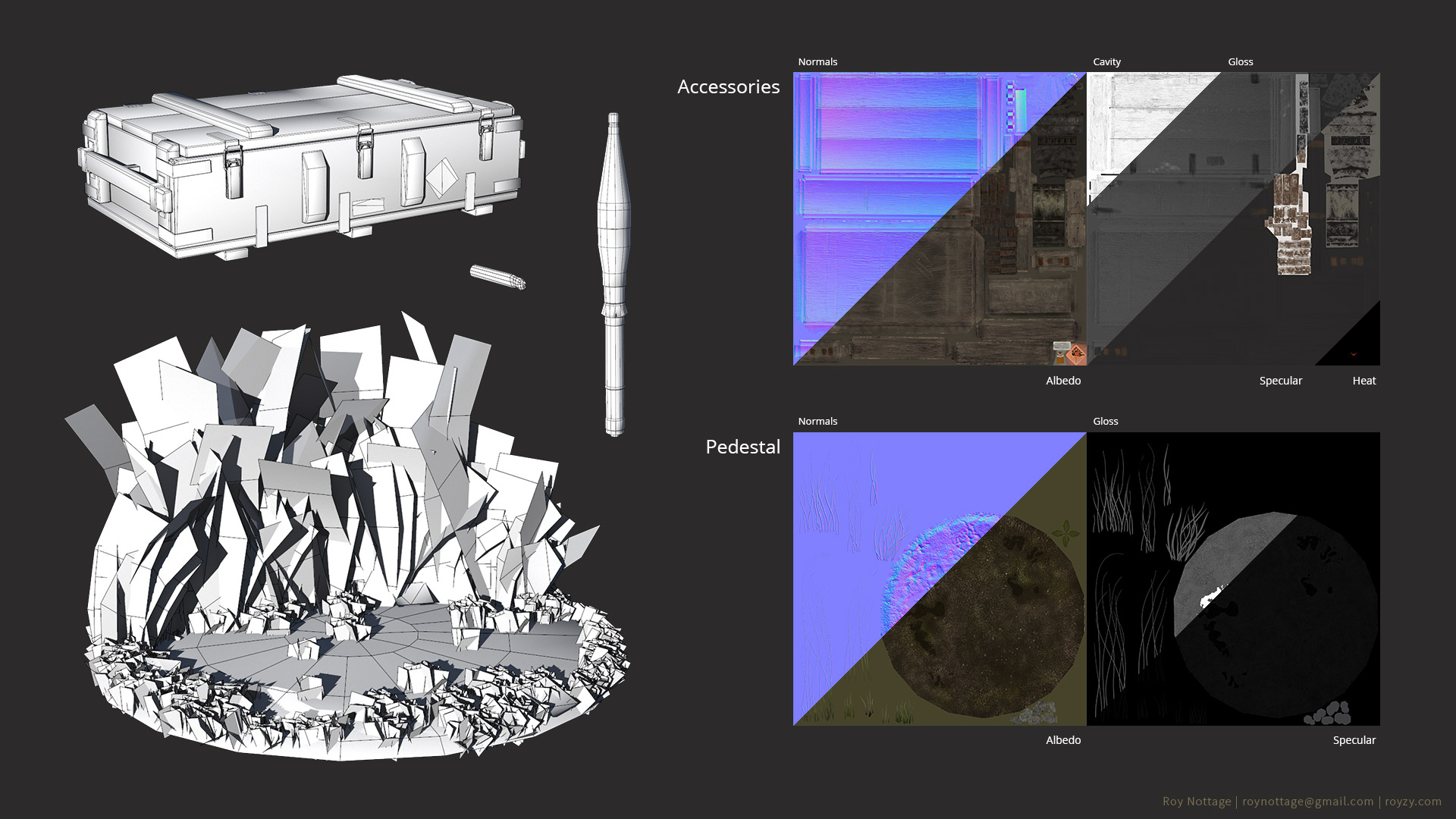 Wireframes and Textures of Accessories and Pedestal 3D Models